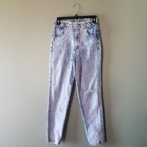 Vintage Distressed Acid Wash Bow Back Mom Jeans
